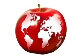 apple with world globe around it