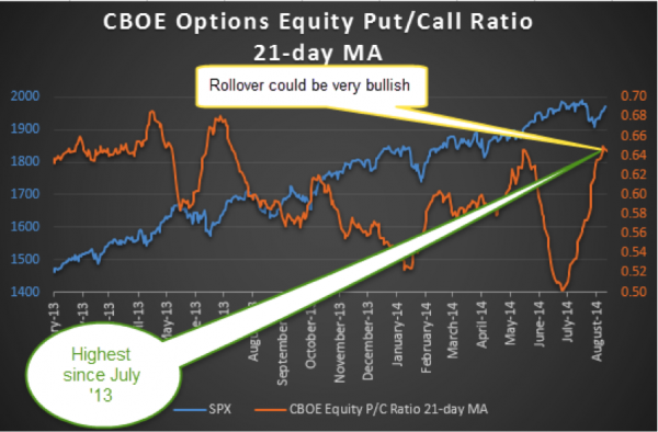 spx equity put call ratio chart august