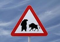 bear standing over bull market sign