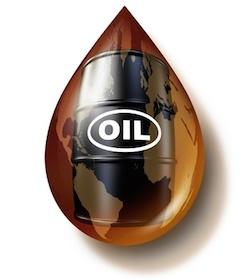 crude oil barrel inside oil drip
