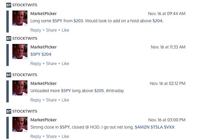 stocktwits messages marketpicker spy nov 16