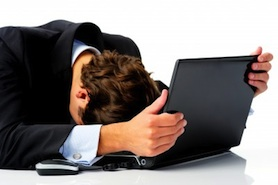 frustrated investor, frustrated businessman, business headache, business problem, business stress, meltdown, giving up, computer problem, frustration