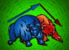 stock market bull and bear, wall street, stocks up and down