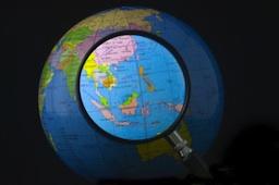 southeast asia region magnified on globe