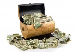 money in a chest, financial windfall