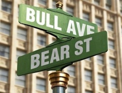 bull and bear street signs, dow jones topping