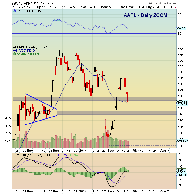 AAPL technical support levels 2014
