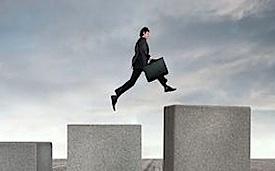 investor climbing stock market