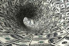 us dollars swirling