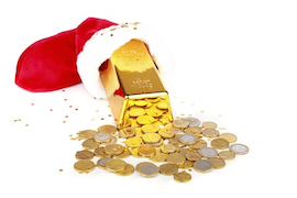 gold bars coins in stocking
