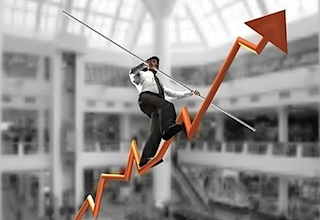 technology investor walking arrow higher