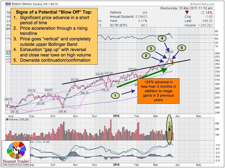 ibb biotech sector blow off top chart