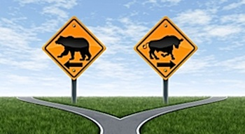 bull bear stock market road sign