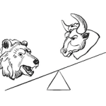 stock market bull bear teeter totter