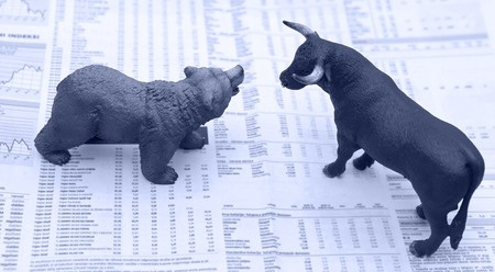 stock market returns with bull bear image