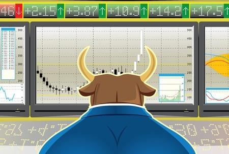 bull investor watching market screen