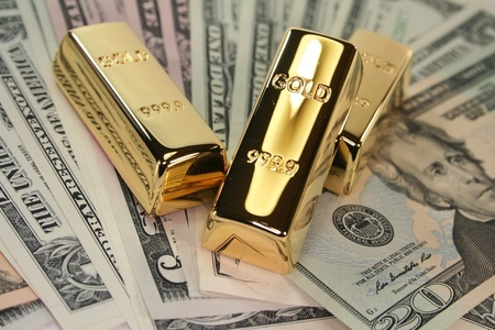 gold bars on us dollar bills