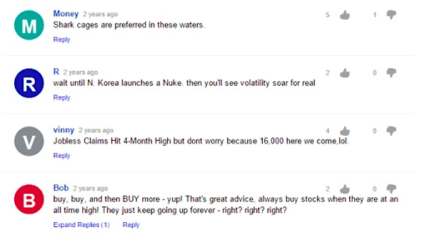 market volatility yahoo message board comments