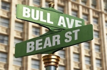 bull bear market street sign