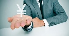 man holding japanese yen currency symbol
