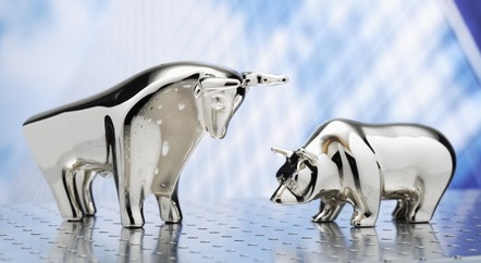 stock market rally bull standing over bear