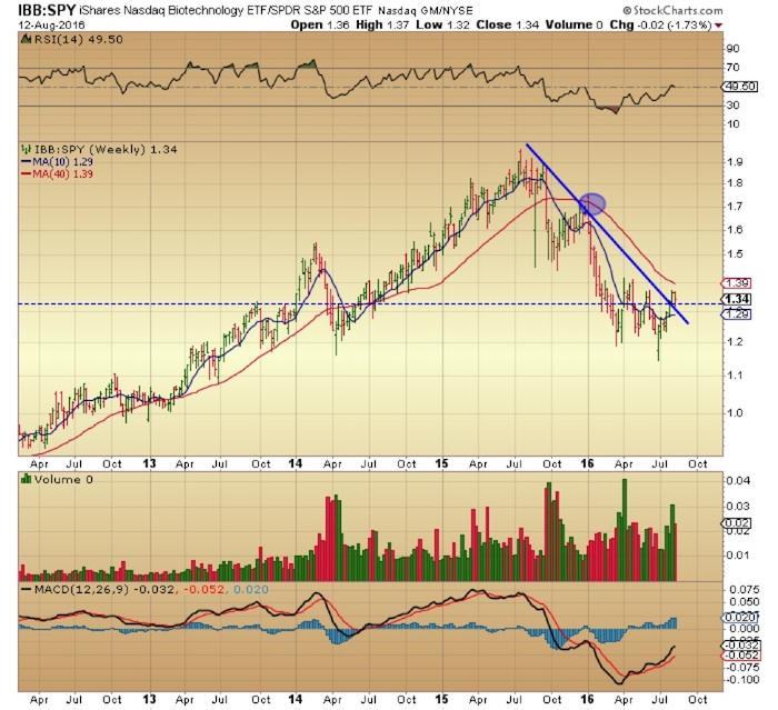 ibb spy ratio biotech stocks outperformance chart_august 15
