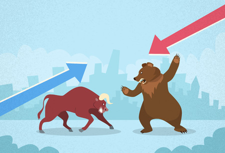 stock market bull bear fighting