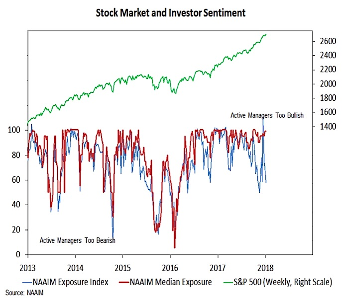 naaim investor exposure index vs stock market performance_5 years January 2018