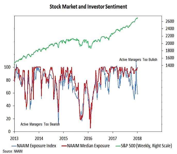 naaim investor exposure index vs stock market performance_5 years January 2018