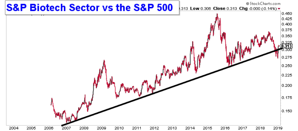 biotech sector stocks performance versus sp 500 bearish lower january 2019