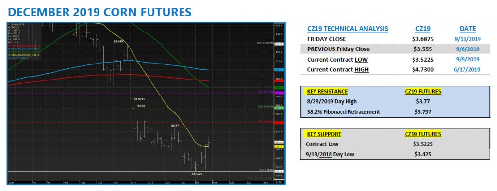 december corn futures trading chart analysis forecast week september 16