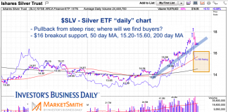 silver etf slv chart analysis buy support levels month september