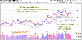 gold miners etf gdx decline correction lower fibonacci support levels precious metals chart october