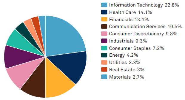 sector market cap size percent equities index pie chart
