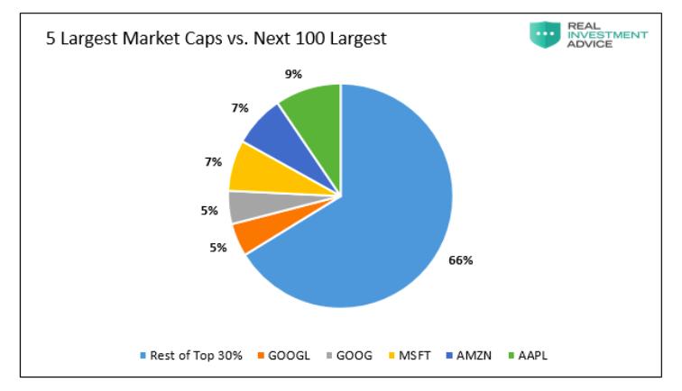 5 largest stocks market cap versus the next 100 stocks investing image