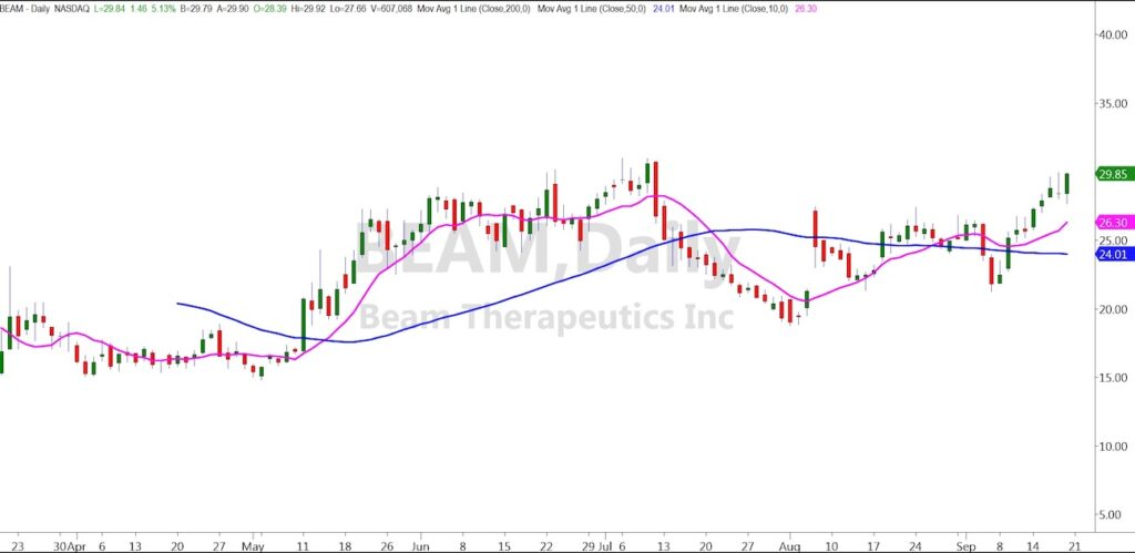 beam therapeutics biotech stock buy signal price rally chart image september