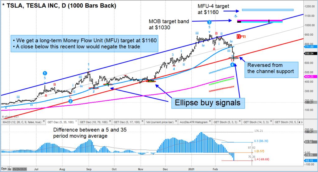 tsla tesla stock reversal higher elliott wave 5 price targets chart february 24